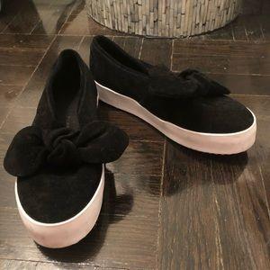 Rebecca Minkoff black suede white sole slides 7.5